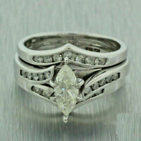 2.22 Ct Marquise Cut Cubic Zirconia 14k White Gold Over Bridal Set Wedding Ring