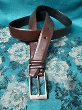 DKNY Brown Full Grain Leather Belt Size 38 . Silver-Tone Buckle