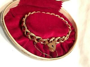 Antique Gold Plated Curb Link Chain Bracelet ft. Heart Lock Clasp