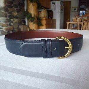 COACH 8500 Women's Navy Glove Leather Belt With Solid Brass Buckle, Medium