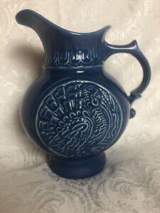 Vintage 1968 McCoy Art Pottery Blue Turkey Cameo Pattern 64oz. Pitcher