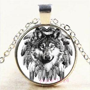 Wolf Dreamcatcher Cabochon Tibetan silver Glass Chain Pendant Necklace #7681