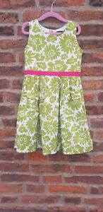 🌈🌈 Stunning MINI BODEN Traditional 50s Style Dress Green Floral Print 4-5Y