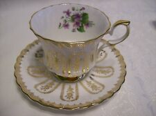 QUEEN ANNE  CUP & SAUCER - Gold Designs and Violets 483