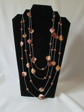 """104"""" Long HandCrafted Lariat or Rope Abalone & Faux Pearl Necklace ~Bronze Tones"""