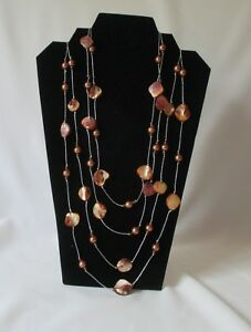 "SPRING TREND ~HandCrafted 104"" Lariat/Rope Abalone & Faux Pearl LAYERED NECKLACE"
