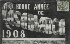 """BONNE ANNEE de CASABLANCA (1908)~CACHET """"TRESOR & POSTES AUX ARMEES~26-12-07""""~"""