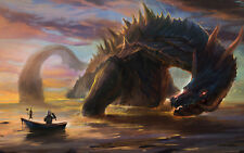 Framed Print - Giant Sea Monster About to Eat a Fisherman (Picture Poster Art)