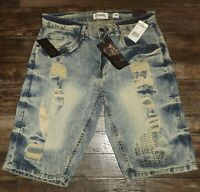 NEW MEN DENIM BLUE RIPPED SHORTS DISTRESSED REGULAR FIT ACID WASH