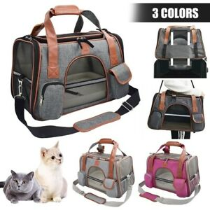 Airline Approved Small Pet Dog Cat Carrier Bag Travel Tote Soft Sided Fleece Mat