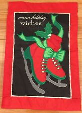 "Winter Red Ice Skates Christmas garden decorative Flag small 12"" x 18"""