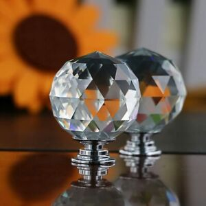 CLEAR CRYSTAL DIAMOND GLASS DOOR KNOBS CUPBOARD DRAWER FURNITURE HANDLE CABINETS