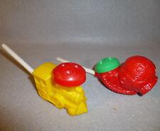 Dial Soap Promo Train & Frog Man / Scuba Diver Bubble Maker Wands Vintage Toys