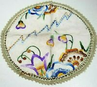 1930's Circular Vintage Doily Embroidered Linen w/Crocheted Edging Arts & Crafts