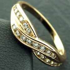 ETERNITY RING REAL 18K YELLOW G/F GOLD GENUINE DIAMOND SIMULATED ANTIQUE DESIGN