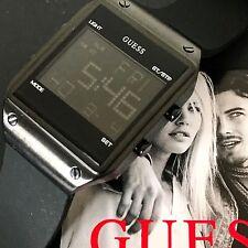 Guess Men's U0595G1 Black Silicon Strap Black Case Dial Digital Watch NWT Box