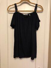T. Tahari women's size S cold shoulder short sleeve SHIRT BLUE