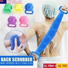 Bath Towel Silicone Exfoliating Back Strap Scrub Shower Body Scrubber Brush Wash
