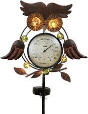 Solar Owl Thermometer Garden Stake Weather Decor Lawn Garden Patio Porch Yard