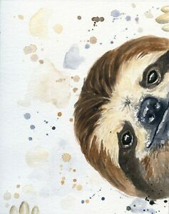 "sloth  CANVAS PICTURE WALL ART MEDIUM 16x24"" portrait"