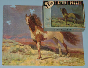 """VTG RARE GUILD PICTURE PUZZLE JIGSAW """"PINTO"""" HORSE MUSTANG FUN SHAPE FIGURALS -3"""