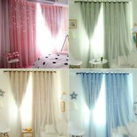 Hollowed Out Star Shading Window Curtain Drapes Purdah for Home Living Room 1*2m
