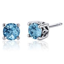 2 CT Round Blue Swiss Blue Topaz Sterling Silver Stud Earrings