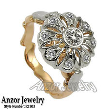 Two-Tone Gold Cubic Zirconia Ring vintage european style 14k Solid
