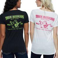 True Religion Women's Buddha Logo Back Deep V-Neck Tee T-Shirt
