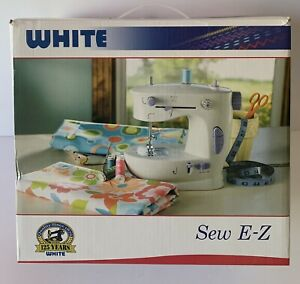 White 'Sew E-Z' Sewing Machine 2 Speed W/Reverse Manual & Extras -  Tested