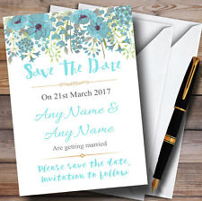 Watercolour Floral Blue Personalised Wedding Save The Date Cards