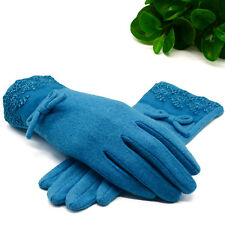 Women Full Finger Bowknot Mittens Touch Screen Warm Lace Cashmere Wrist-Gloves