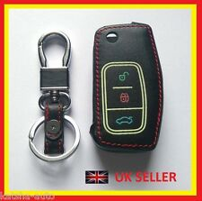 FORD KEY FOB GALAXY CMAX FOCUS MONDEO LEATHER COVER 3 BUTTON FLIP KEY CASE 1