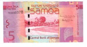 SAMOA $5 Tala VF+ Banknote (2014 ND) P-38b Prefix TK Liuga-Enari Signature