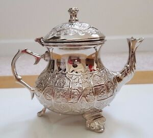 New Nickel Plated Moroccan Teapot & 3 Red Glasses