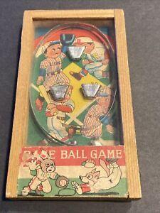 "VINTAGE BASEBALL HANDHELD WOOD/GLASS PUNBALL GAME JAPAN W/""LIONS""(PINSTRIPES)~RC"
