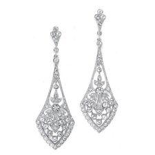 Florence Vintage Art Deco Bridal Formal Crystal Chandelier Earrings Weddingh