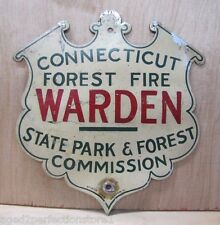 Old Connecticut Forest Fire Warden Sign State Park & Forest figural badge Scioto