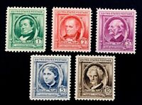 US Stamps, Scott #859-63 Famous American Authors 1940 XF/Superb M/NH Outstanding