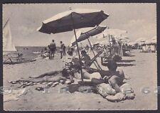 RIMINI CITTÀ 153 TORRE PEDRERA - SPIAGGIA BAGNI Cartolina viaggiata 1954