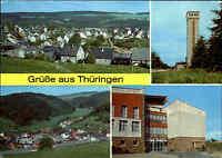 DDR Mehrbild-AK Gruss aus Thüringen mit Schnett, Rennsteigwarte, Fehrenbach ua.