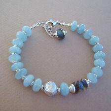 U&C Sundance Blue Aquamarine & Flashy Labradorite 925 Sterling Silver Bracelet