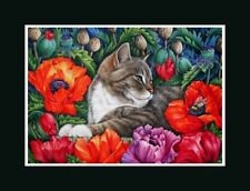 Tabby Cat ACEO Flamboyant Poppies Print by I Garmashova