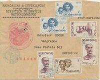 MADAGASKAR 1948 Buntfrankatur dek. Bf Absenderstempel meteorologisches Insititut