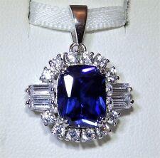 Beautiful Art Deco Sterling Silver Sapphire & Simulated Diamond Cluster Pendant