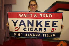 "Large Vintage 1939 Waitt & Bond Yankee 5c Cigar Tobacco Gas Oil 36"" Sign"