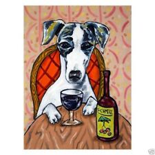 whippet at the wine bar dog art Set of Notecards