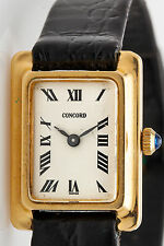 Vintage $2400 14k Yellow Solid Gold CONCORD Tank Ladies Dress Watch