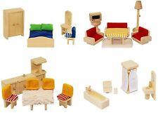 Freda Puppenmöbel Puppenhausmöbel aus Holz 28 Teile + Hussen Bezüge Kissen