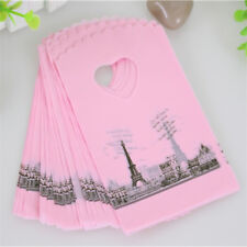 50 Pcs Pink Eiffel Tower Paris France Packaging Bags Plastic Shopping Gift Bags